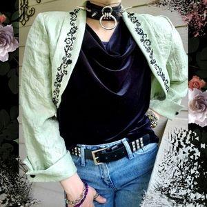 EXPO NY Cropped Beaded & Embroidered Bolero Jacket